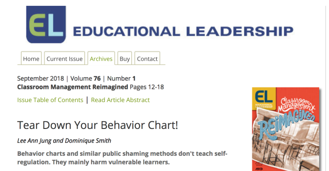 Tear Down Your Behavior Chart