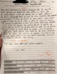 spanish 1 writing